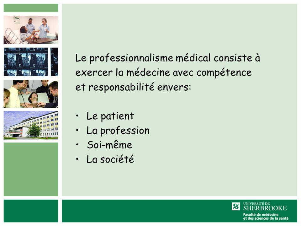 Le professionnalisme médical consiste à