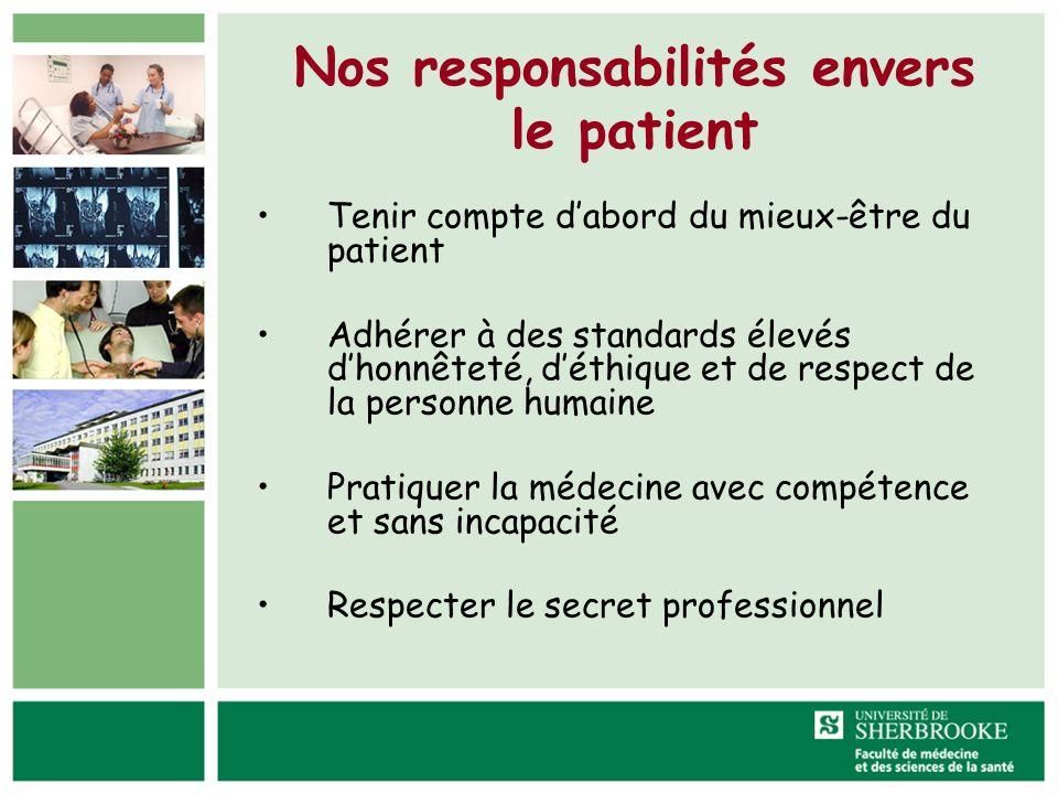 Nos responsabilités envers le patient