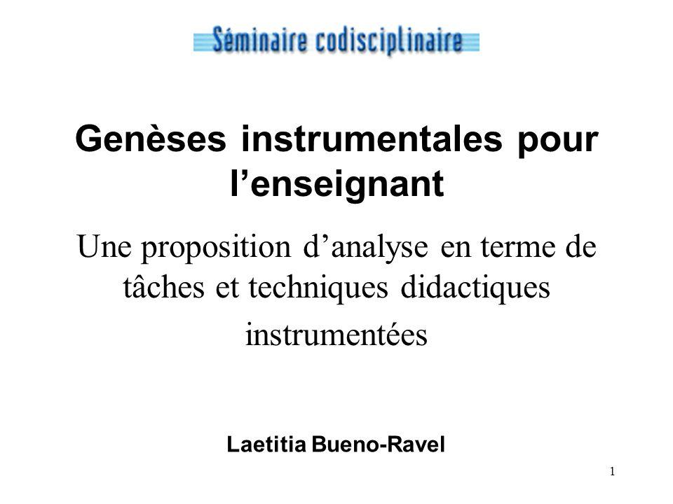 Genèses instrumentales pour l'enseignant Une proposition d'analyse en terme de tâches et techniques didactiques instrumentées