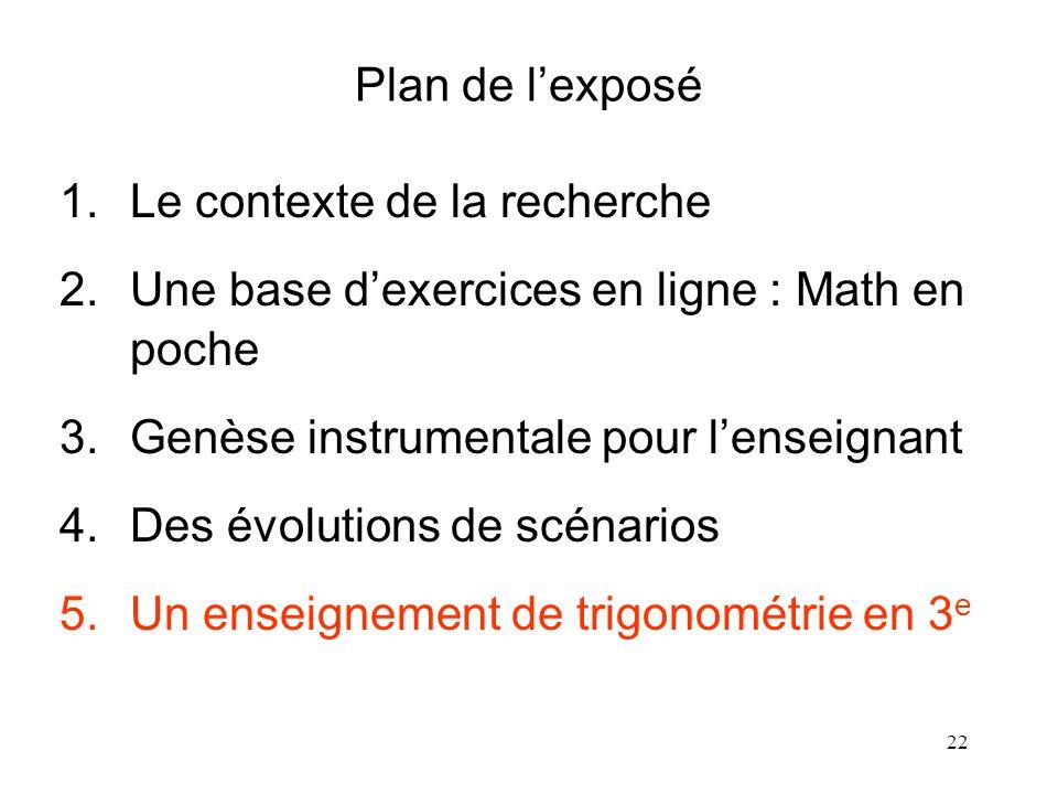 Plan de l'exposé Le contexte de la recherche. Une base d'exercices en ligne : Math en poche. Genèse instrumentale pour l'enseignant.
