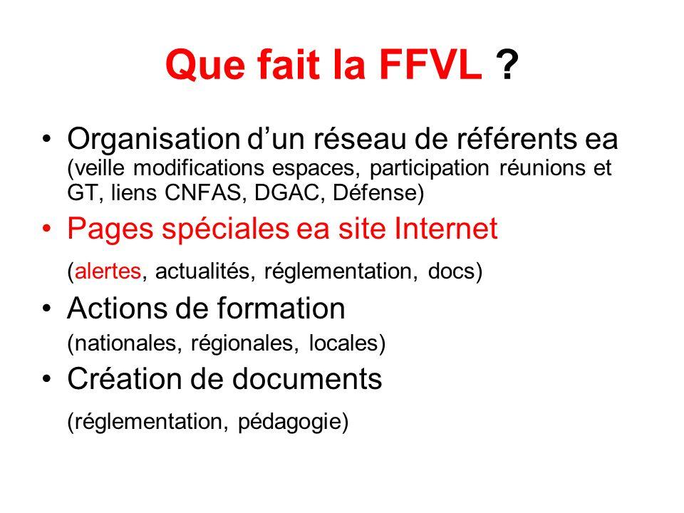 Que fait la FFVL Organisation d'un réseau de référents ea (veille modifications espaces, participation réunions et GT, liens CNFAS, DGAC, Défense)