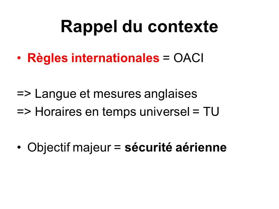 Rappel du contexte Règles internationales = OACI