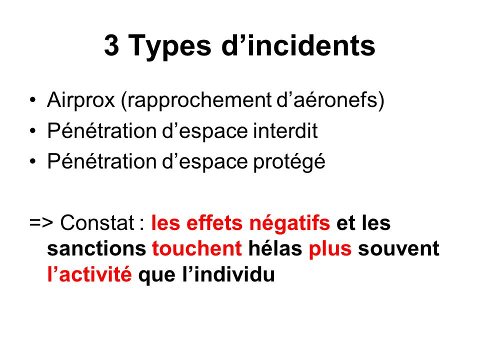 3 Types d'incidents Airprox (rapprochement d'aéronefs)