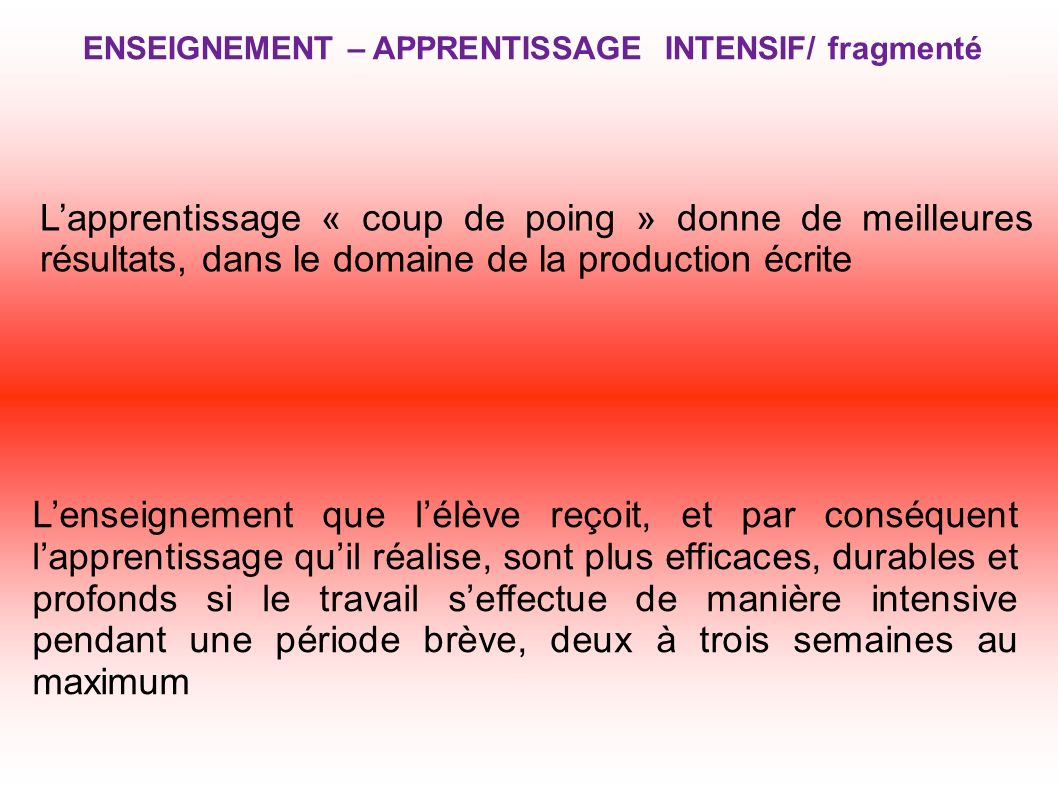 ENSEIGNEMENT – APPRENTISSAGE INTENSIF/ fragmenté