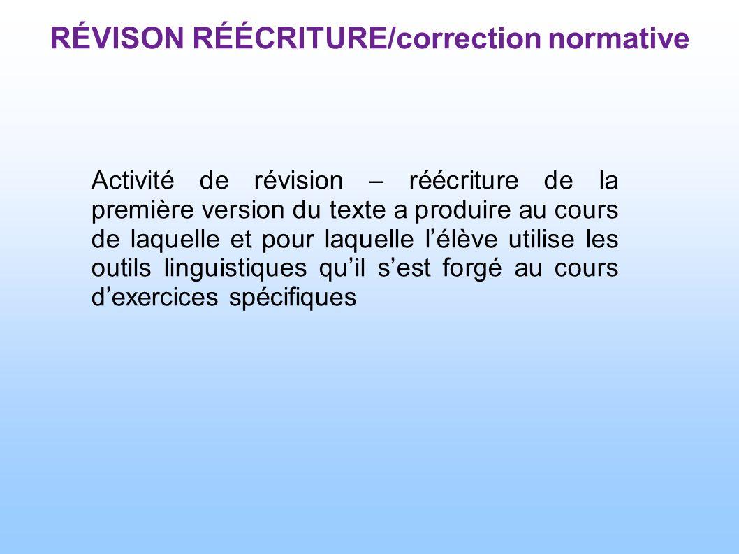 RÉVISON RÉÉCRITURE/correction normative