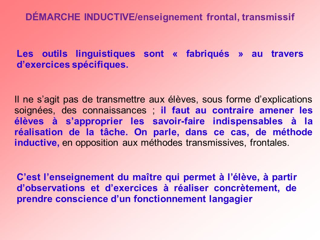 DÉMARCHE INDUCTIVE/enseignement frontal, transmissif