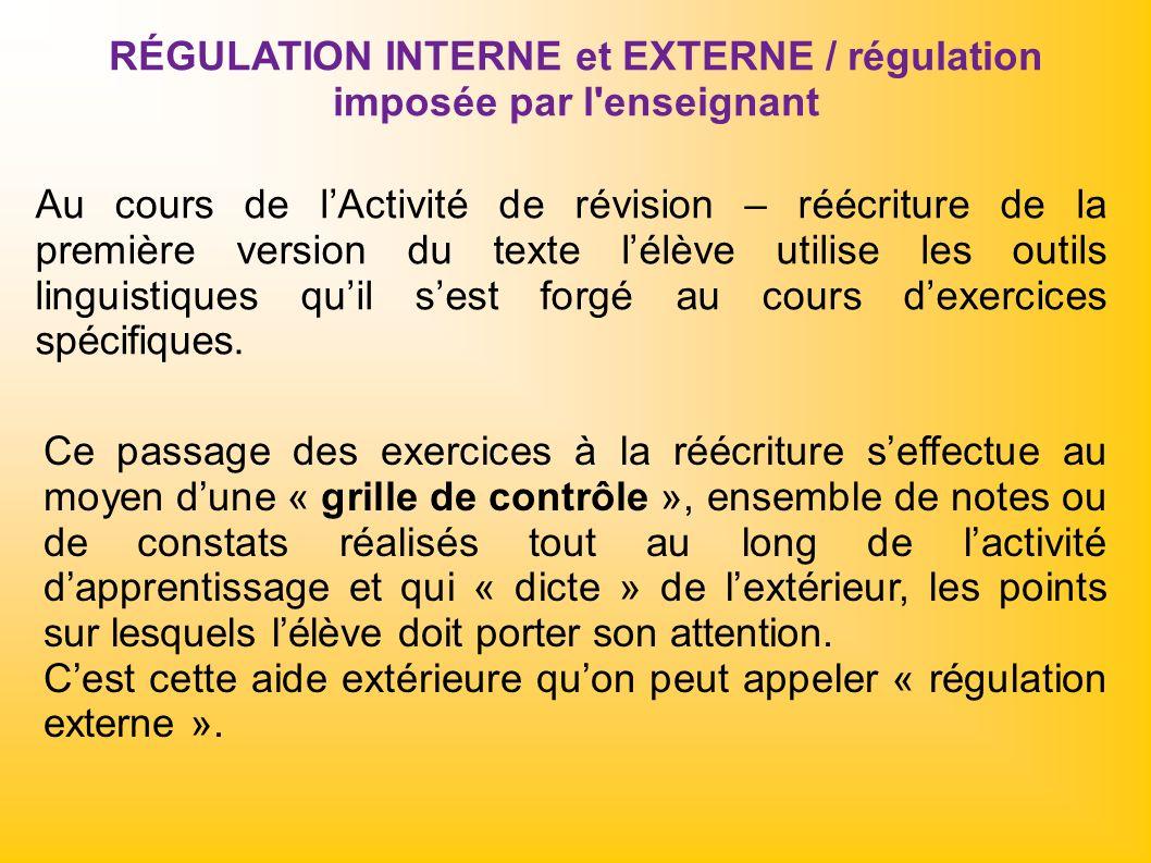RÉGULATION INTERNE et EXTERNE / régulation imposée par l enseignant