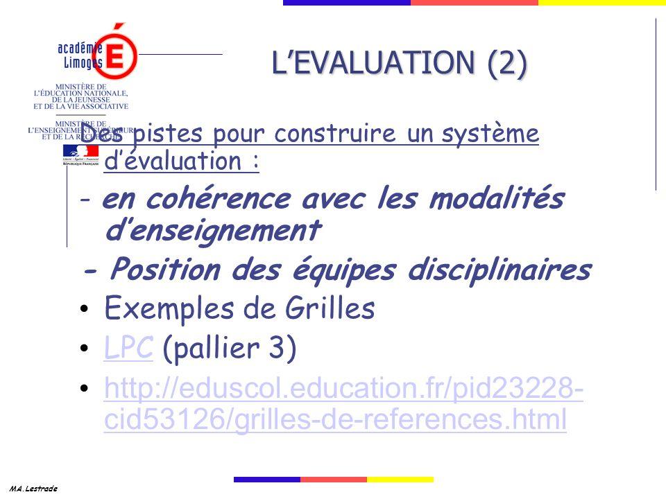 L'EVALUATION (2) - en cohérence avec les modalités d'enseignement