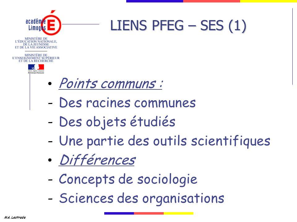LIENS PFEG – SES (1) Points communs : Des racines communes