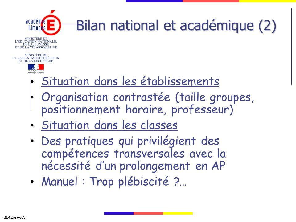 Bilan national et académique (2)