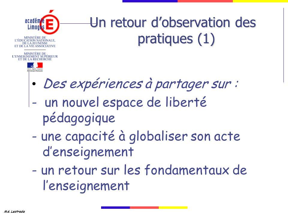 Un retour d'observation des pratiques (1)