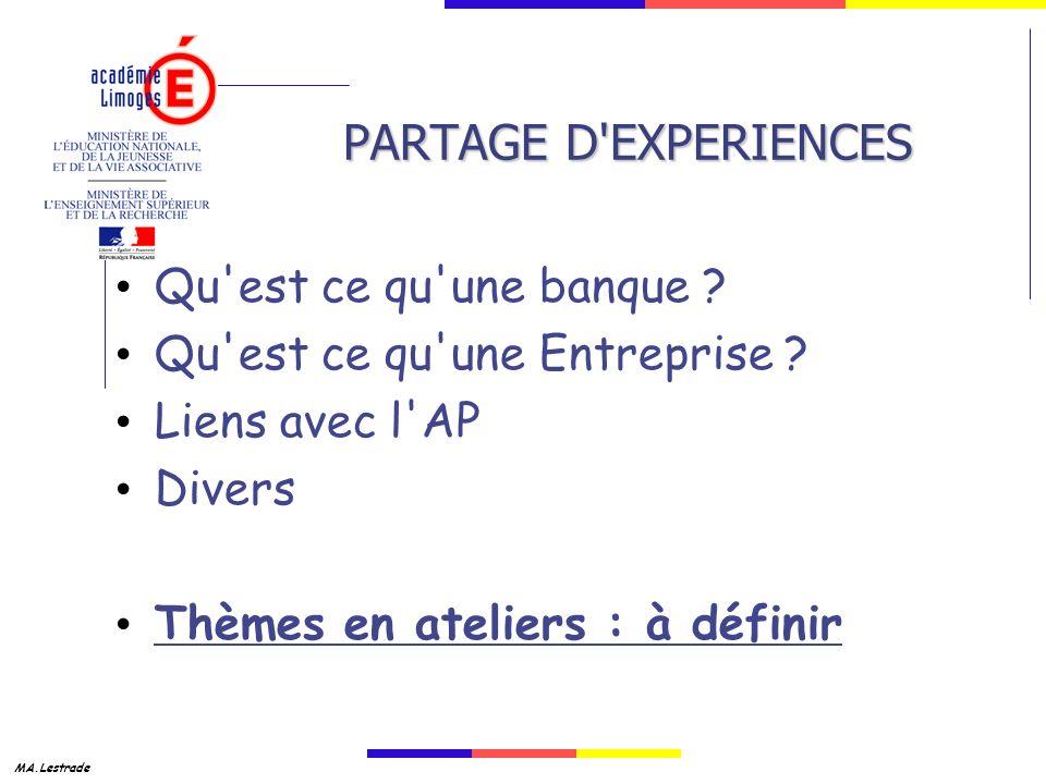 PARTAGE D EXPERIENCES Qu est ce qu une banque