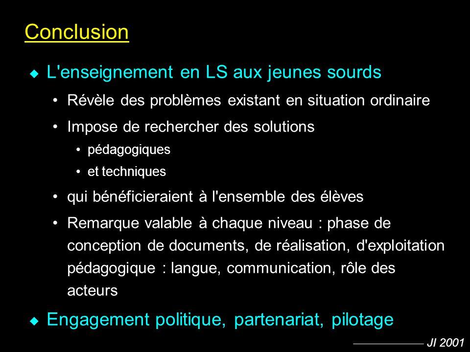 Conclusion L enseignement en LS aux jeunes sourds