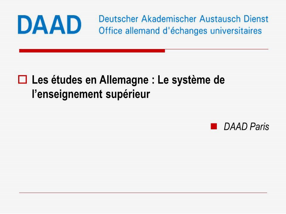 Les études en Allemagne : Le système de l'enseignement supérieur