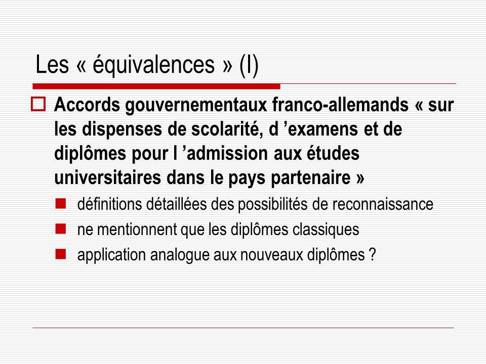 Les « équivalences » (I)