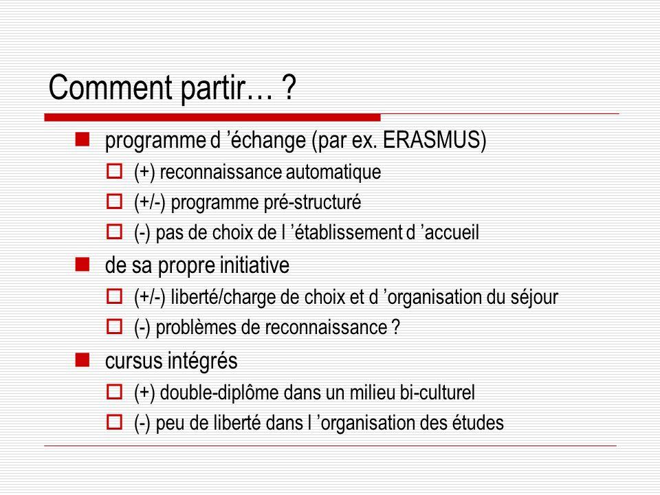 Comment partir… programme d 'échange (par ex. ERASMUS)