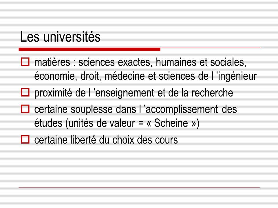 Les universités matières : sciences exactes, humaines et sociales, économie, droit, médecine et sciences de l 'ingénieur.