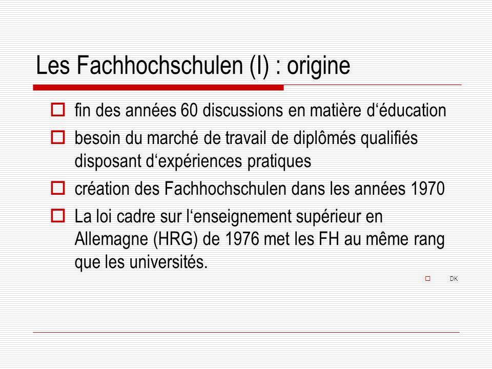 Les Fachhochschulen (I) : origine