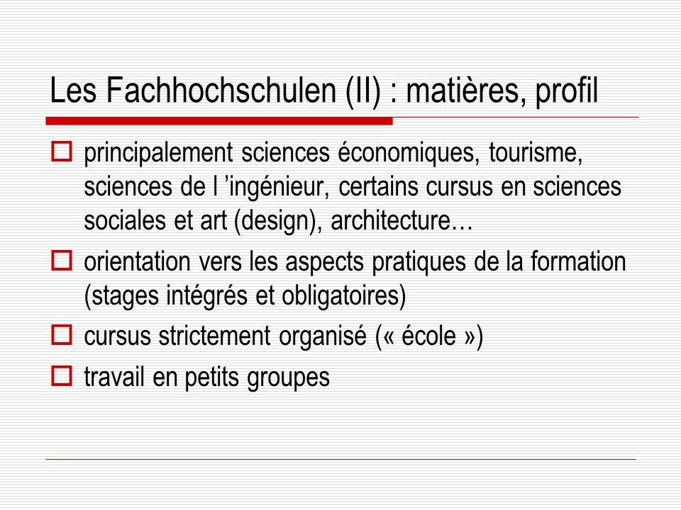 Les Fachhochschulen (II) : matières, profil