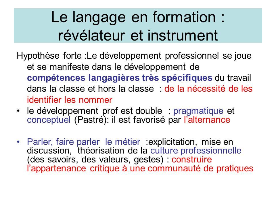 Le langage en formation : révélateur et instrument
