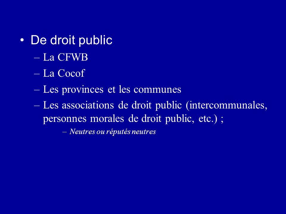De droit public La CFWB La Cocof Les provinces et les communes