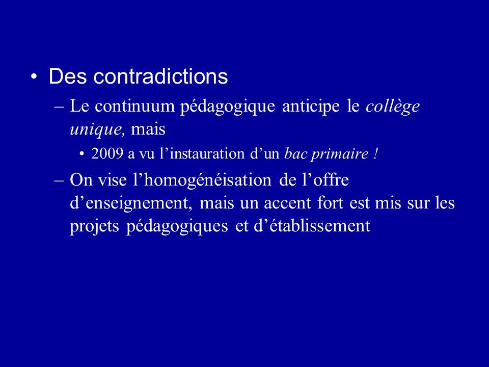 Des contradictions Le continuum pédagogique anticipe le collège unique, mais. 2009 a vu l'instauration d'un bac primaire !