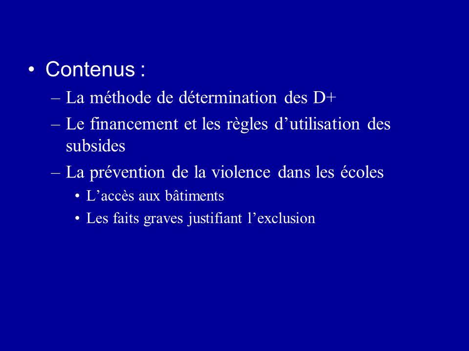 Contenus : La méthode de détermination des D+