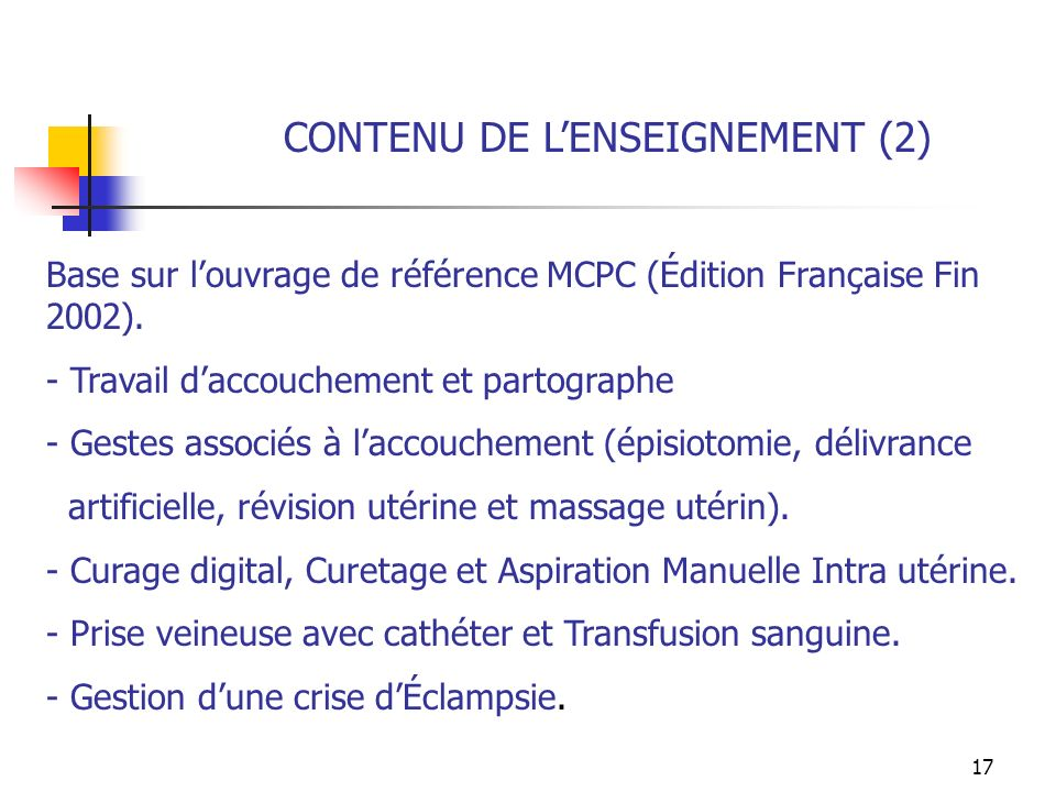 CONTENU DE L'ENSEIGNEMENT (2)