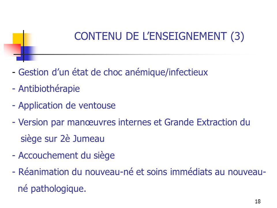 CONTENU DE L'ENSEIGNEMENT (3)