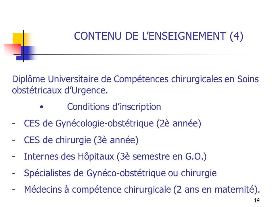 CONTENU DE L'ENSEIGNEMENT (4)