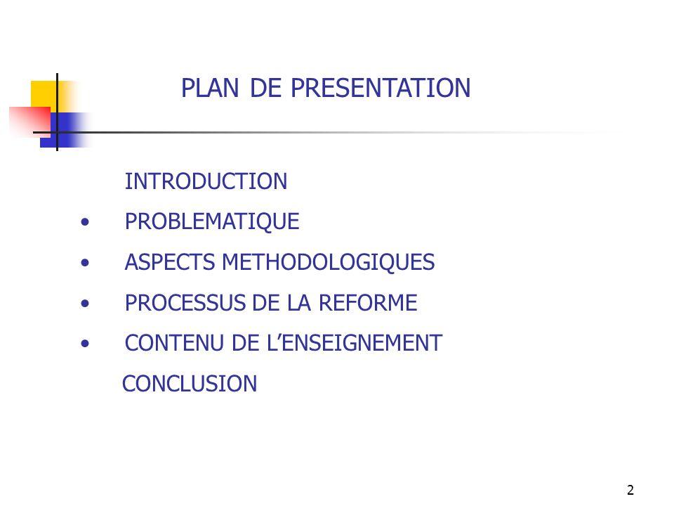 PLAN DE PRESENTATION INTRODUCTION PROBLEMATIQUE