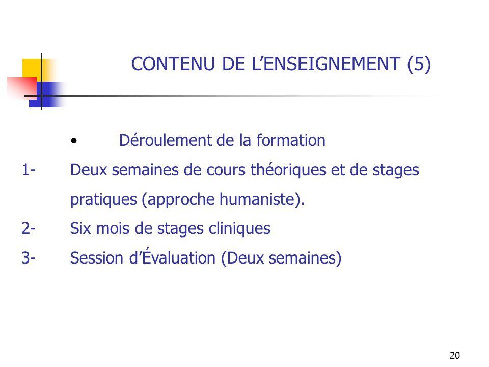 CONTENU DE L'ENSEIGNEMENT (5)