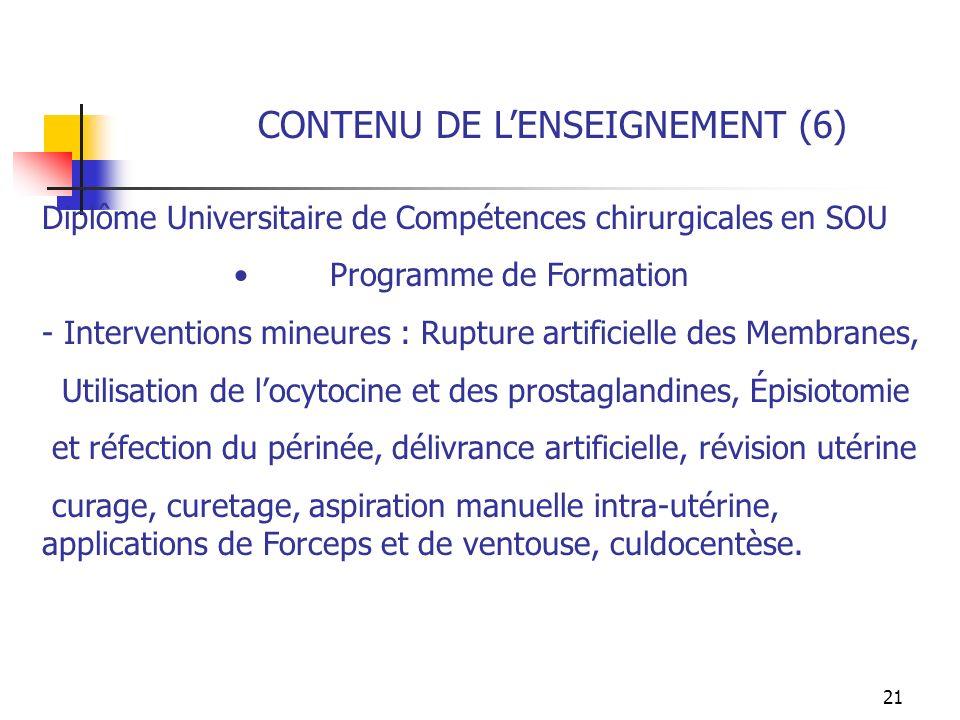 CONTENU DE L'ENSEIGNEMENT (6)