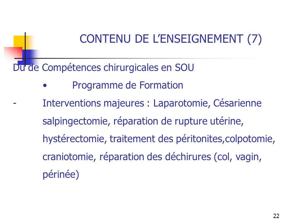 CONTENU DE L'ENSEIGNEMENT (7)