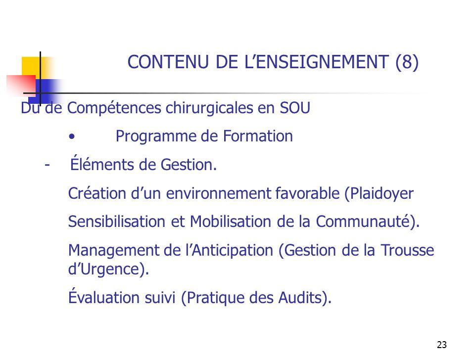 CONTENU DE L'ENSEIGNEMENT (8)
