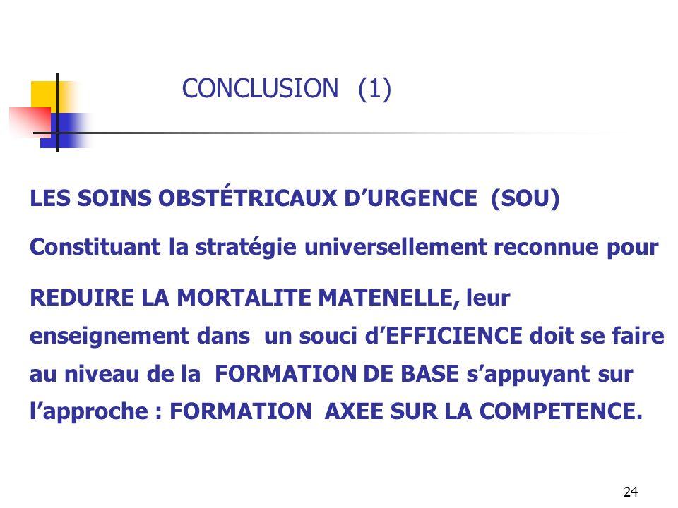 CONCLUSION (1) LES SOINS OBSTÉTRICAUX D'URGENCE (SOU)