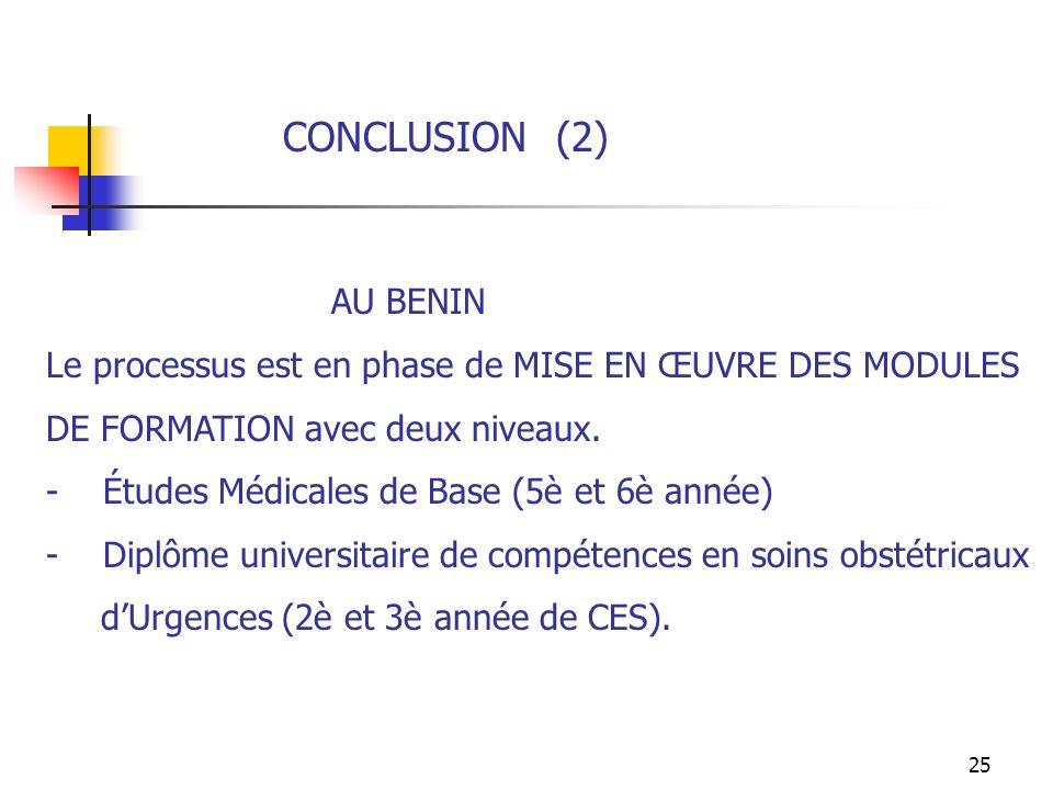CONCLUSION (2) AU BENIN. Le processus est en phase de MISE EN ŒUVRE DES MODULES. DE FORMATION avec deux niveaux.