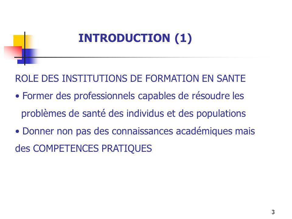 INTRODUCTION (1) ROLE DES INSTITUTIONS DE FORMATION EN SANTE