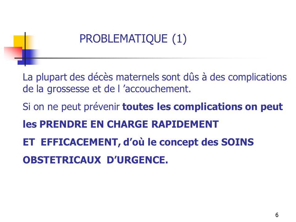 PROBLEMATIQUE (1) La plupart des décès maternels sont dûs à des complications de la grossesse et de l 'accouchement.