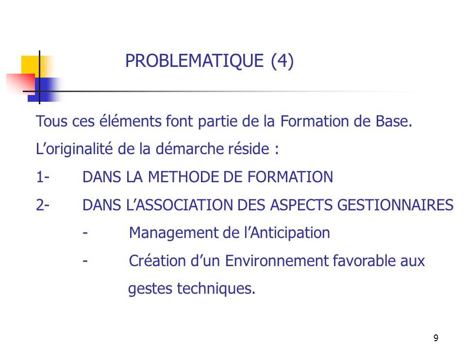 PROBLEMATIQUE (4) Tous ces éléments font partie de la Formation de Base. L'originalité de la démarche réside :