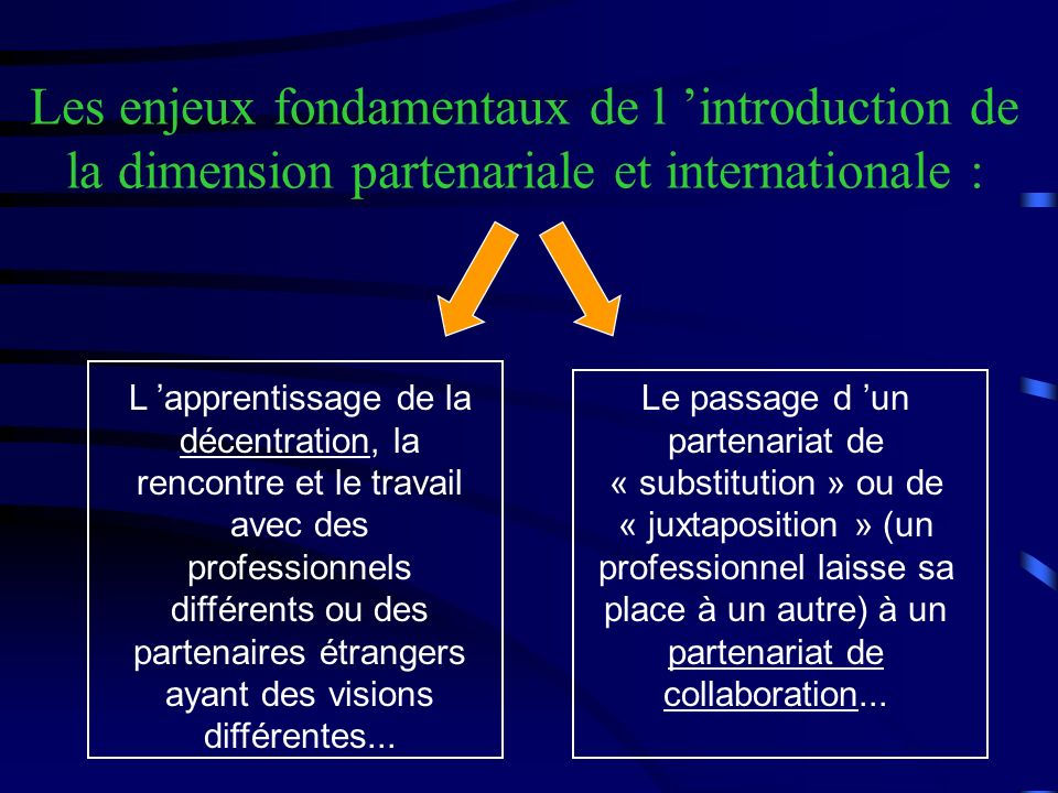 Les enjeux fondamentaux de l 'introduction de la dimension partenariale et internationale :