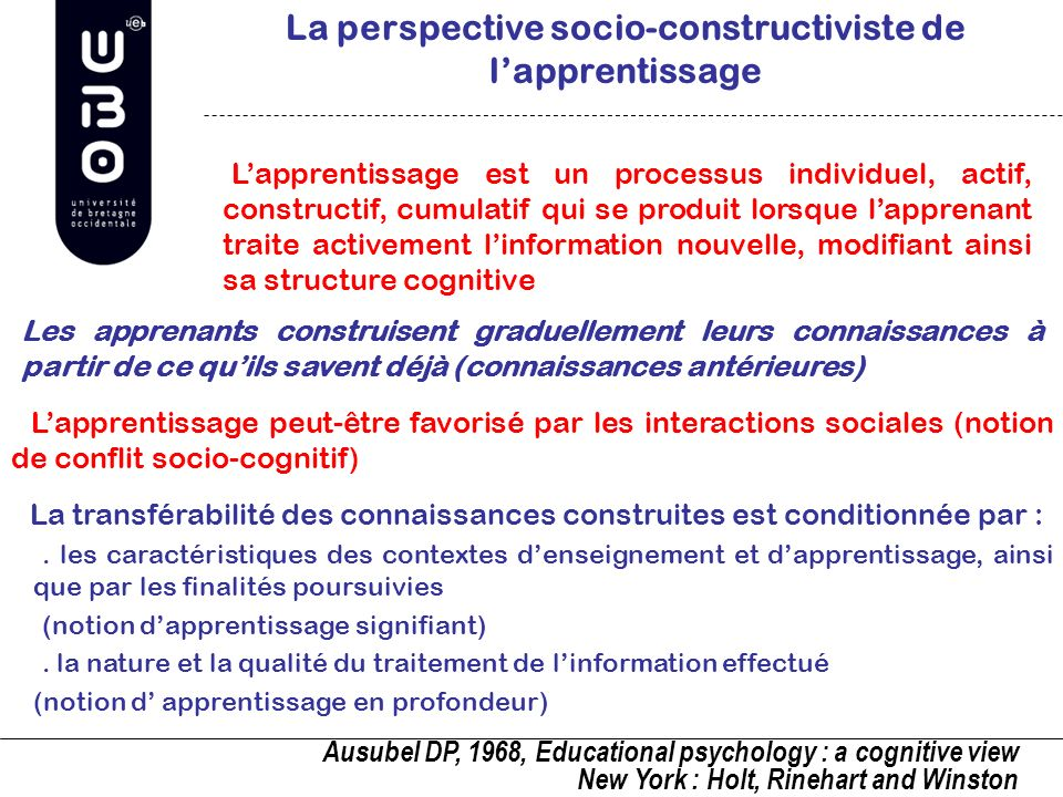 La perspective socio-constructiviste de l'apprentissage