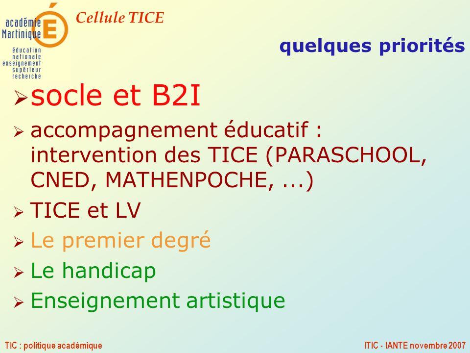 quelques priorités socle et B2I. accompagnement éducatif : intervention des TICE (PARASCHOOL, CNED, MATHENPOCHE, ...)