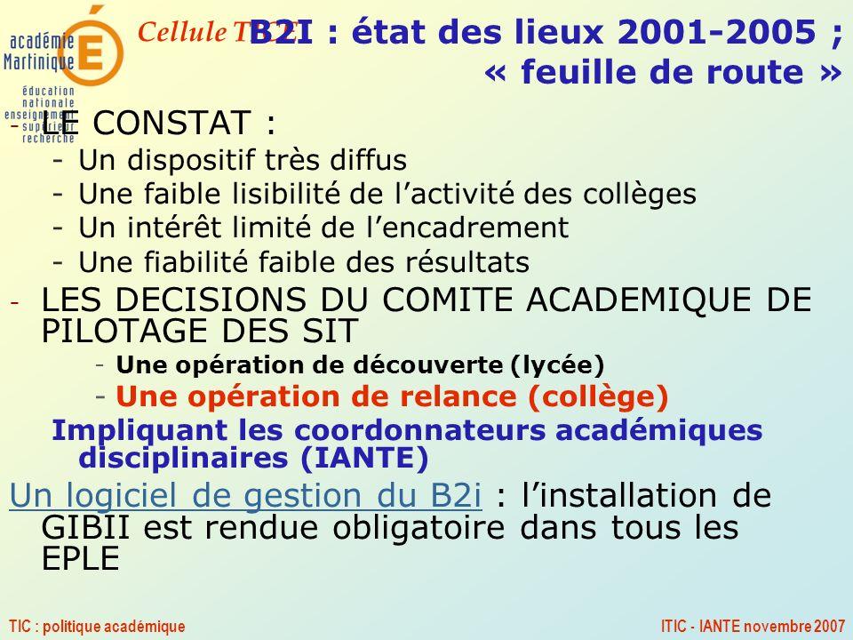 B2I : état des lieux 2001-2005 ; « feuille de route »