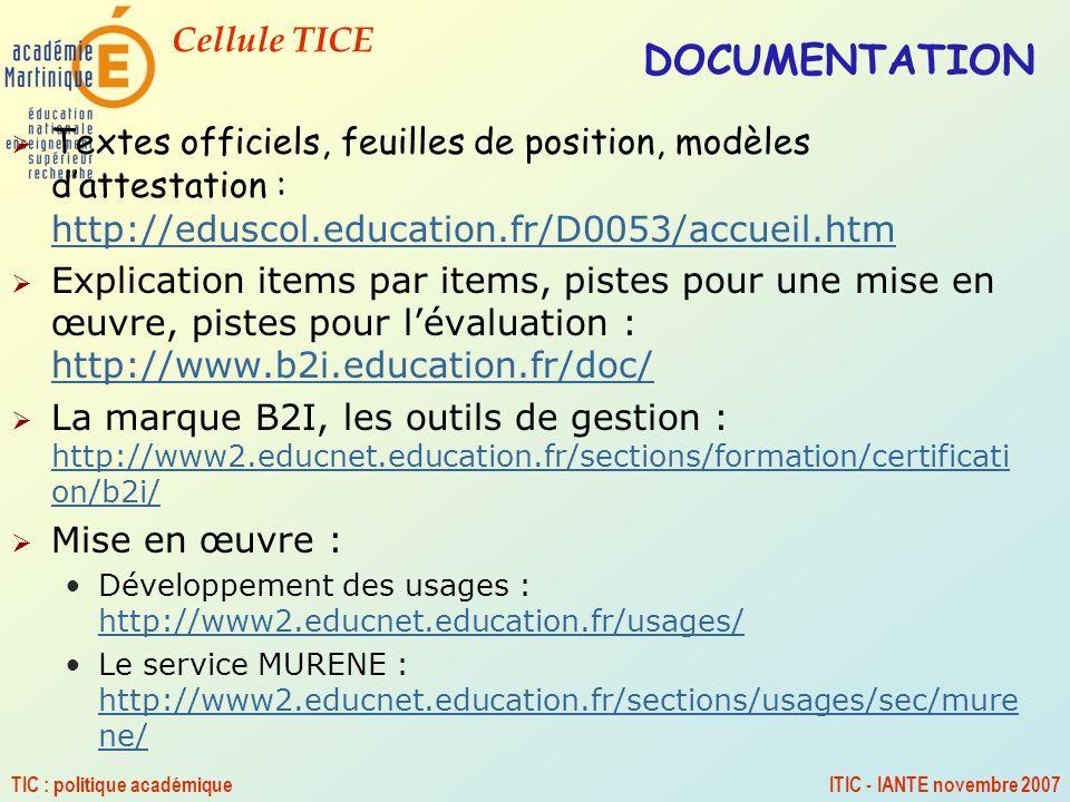 DOCUMENTATION Textes officiels, feuilles de position, modèles d'attestation : http://eduscol.education.fr/D0053/accueil.htm.