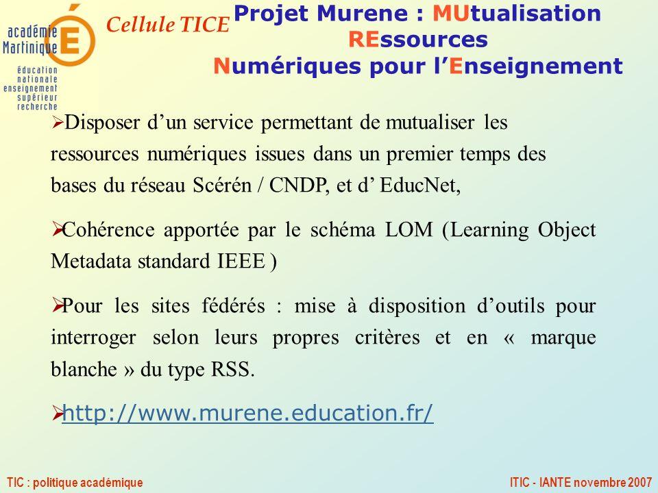 Projet Murene : MUtualisation REssources Numériques pour l'Enseignement
