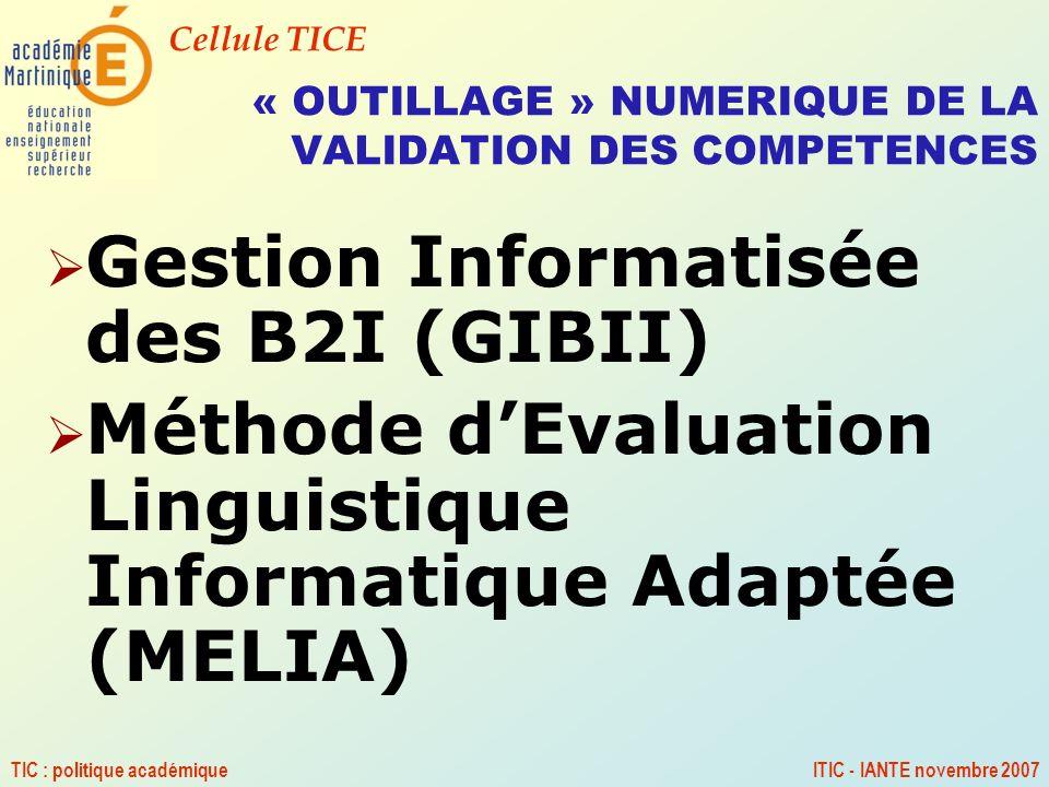 « OUTILLAGE » NUMERIQUE DE LA VALIDATION DES COMPETENCES