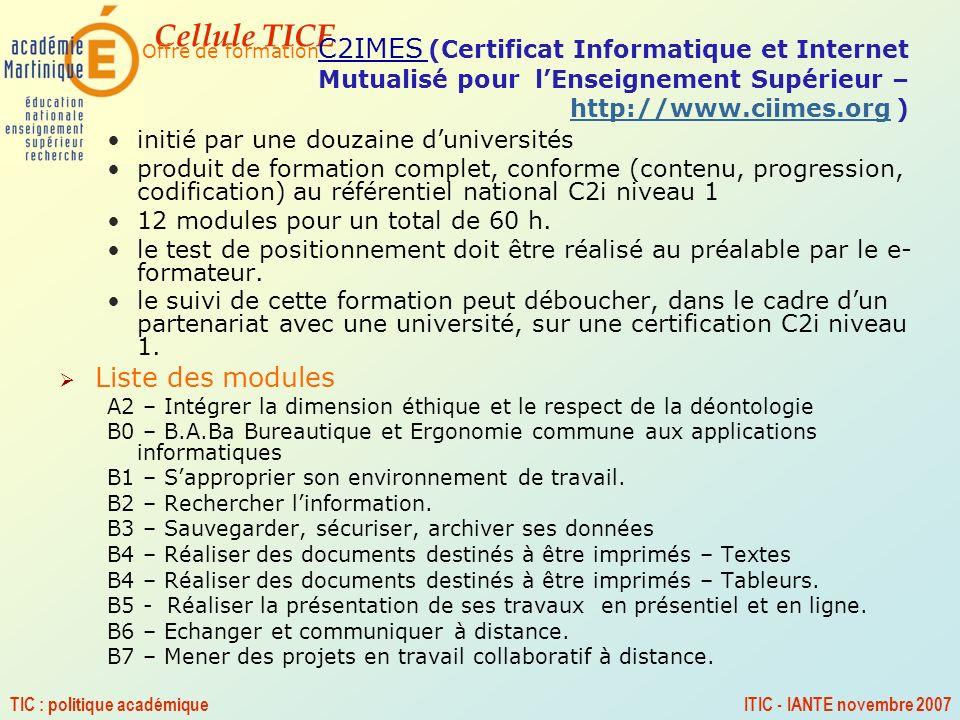 Liste des modules initié par une douzaine d'universités
