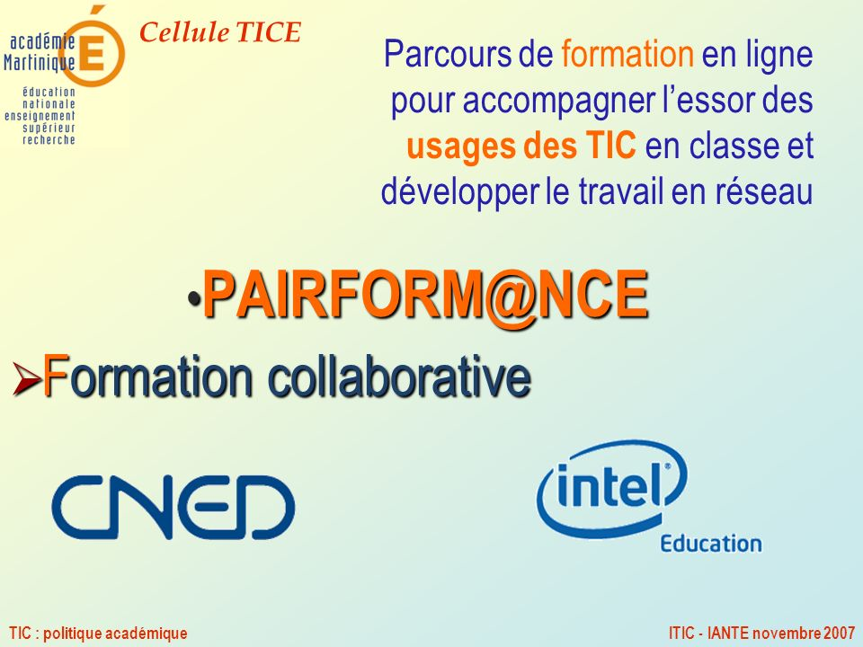 PAIRFORM@NCE Formation collaborative