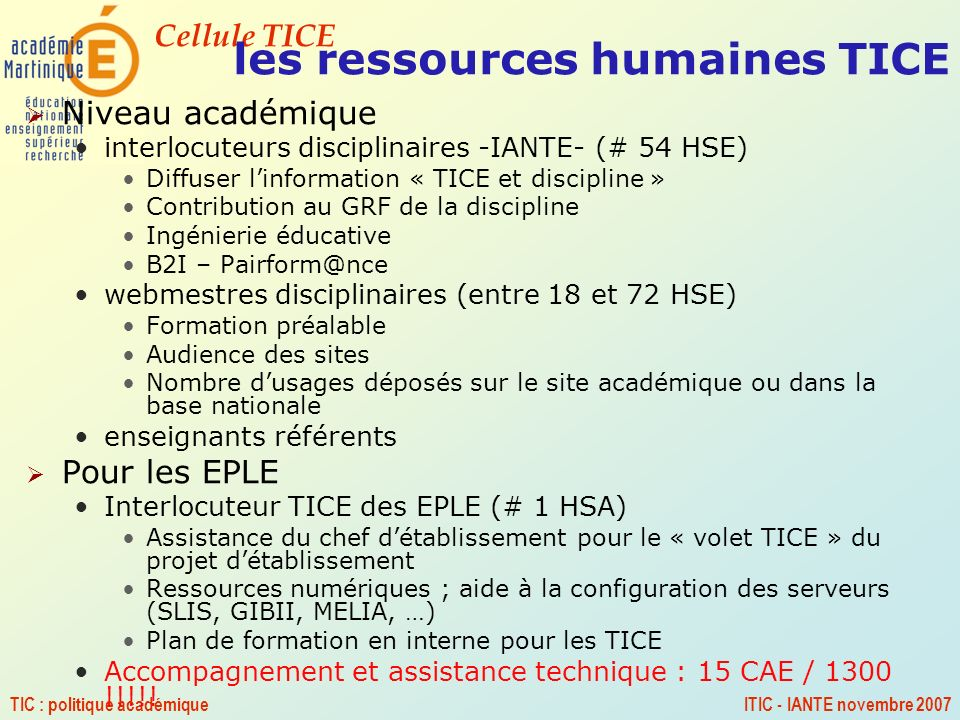 les ressources humaines TICE